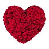 Corazón del día de tarjetas del día de San Valentín hecho de las rosas rojas aisladas en el fondo blanco Imágenes de archivo libres de regalías
