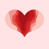 Corazón del día de tarjetas del día de San Valentín para el diseño de tarjeta Corte del papel de la profundidad Fotos de archivo libres de regalías