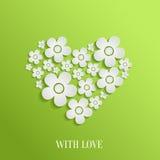 Corazón del día del ` s de la tarjeta del día de San Valentín de las flores blancas Foto de archivo