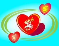 Corazón del dólar del vector Imagen de archivo