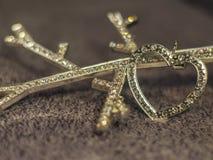 Corazón del diamante en el fondo de lana Fotografía de archivo libre de regalías