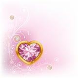 Corazón del diamante en marco de oro Foto de archivo libre de regalías