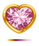 Corazón del diamante en marco de oro Imágenes de archivo libres de regalías