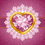 Corazón del diamante en marco de oro Fotografía de archivo