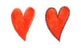 Corazón del dibujo de la mano Fotografía de archivo