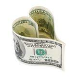 Corazón del dinero Imagenes de archivo