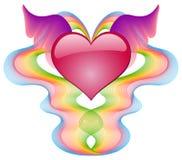 Corazón del escarlata con las alas Imagen de archivo libre de regalías