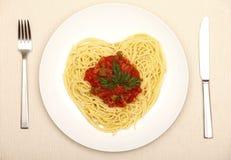 Corazón del espagueti fotos de archivo