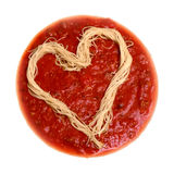Corazón del espagueti Fotos de archivo libres de regalías