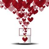 Corazón del flujo de la caja del anillo de la tarjeta del día de San Valentín del vector Foto de archivo