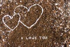 Corazón del fondo de las conchas marinas imagenes de archivo