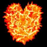 Corazón del fuego con el fondo negro Foto de archivo libre de regalías
