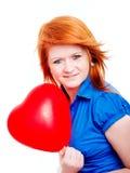 Corazón del globo de la tarjeta del día de San Valentín de la explotación agrícola de la muchacha del adolescente Imagenes de archivo