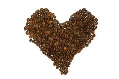 Corazón del grano de café Imagen de archivo libre de regalías