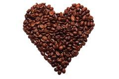 Corazón del grano de café Fotos de archivo libres de regalías