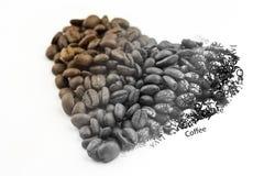 Corazón del grano de café que se descolora a las palabras Imagen de archivo