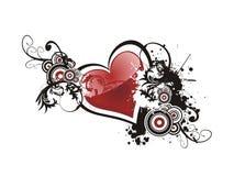 Corazón del grunge de la tarjeta del día de San Valentín floral Imagenes de archivo