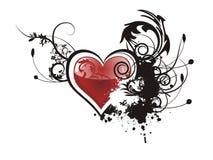 Corazón del grunge de la tarjeta del día de San Valentín floral Imágenes de archivo libres de regalías