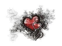 Corazón del grunge de la tarjeta del día de San Valentín floral Foto de archivo libre de regalías