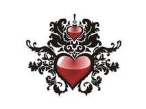 Corazón del grunge de la tarjeta del día de San Valentín floral Imagen de archivo libre de regalías