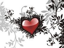 Corazón del grunge de la tarjeta del día de San Valentín floral Imagen de archivo