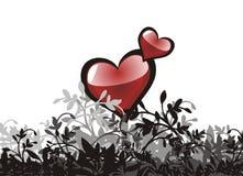 Corazón del grunge de la tarjeta del día de San Valentín floral Fotos de archivo