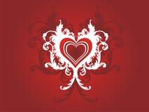 Corazón del grunge de la tarjeta del día de San Valentín floral Fotos de archivo libres de regalías