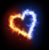 Corazón del hielo del fuego Fotos de archivo
