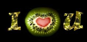 Corazón del kiwi Imágenes de archivo libres de regalías