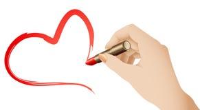 Corazón del lápiz labial Foto de archivo