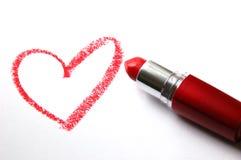Corazón del lápiz labial Fotos de archivo libres de regalías
