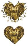 Corazón del león del oro Foto de archivo