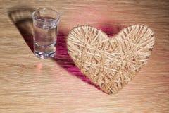 Corazón del lenticum de lino en roble Foto de archivo libre de regalías