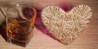 Corazón del lenticum de lino en roble Imagen de archivo