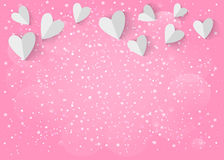 Corazón del Libro Blanco 3d en fondo rosado Vector EPS 10 stock de ilustración