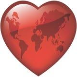 Corazón del mundo vidrioso Foto de archivo libre de regalías