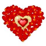 Corazón del pétalo del vector Imagen de archivo