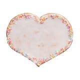 Corazón del pan de jengibre con helar blanco Imagen de archivo
