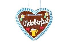 Corazón del pan de jengibre de Oktoberfest fotos de archivo