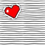 Corazón del pixel en modelo con las rayas negras stock de ilustración