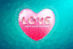 Corazón del polígono y texto del amor El día de tarjeta del día de San Valentín abstracto del amor Foto de archivo libre de regalías