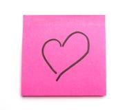 Corazón del post-it Foto de archivo libre de regalías
