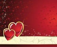 Corazón del rojo del día de fiesta del oro Fotos de archivo libres de regalías