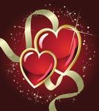 Corazón del rojo del día de fiesta del oro Fotos de archivo