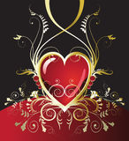 Corazón del rojo del día de fiesta del oro Imagen de archivo libre de regalías