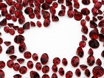 Corazón del rubí del diamante Fotografía de archivo libre de regalías