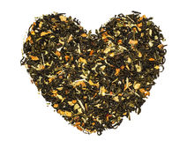 Corazón del té verde Fotografía de archivo