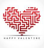 Corazón del tarjeta-laberinto de la tarjeta del día de San Valentín Foto de archivo libre de regalías