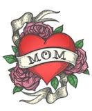 Corazón del tatuaje en las flores de Rose con la cinta ilustración del vector