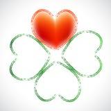 Corazón del trébol de cuatro hojas Foto de archivo